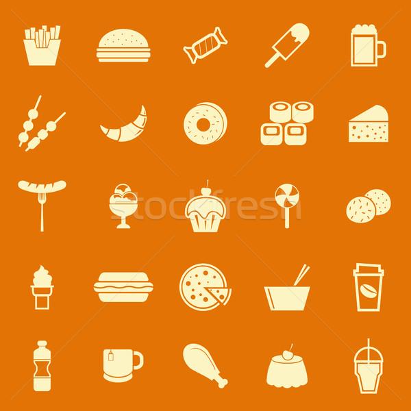 Fast food kleur iconen oranje voorraad vector Stockfoto © punsayaporn