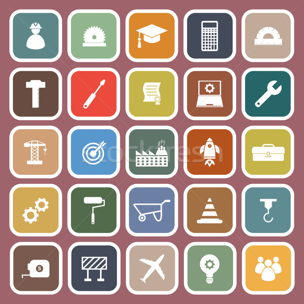 Engineering flat icons on red background Stock photo © punsayaporn