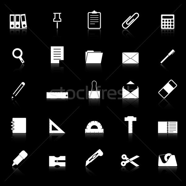 Stationary icons with reflect on black background Stock photo © punsayaporn