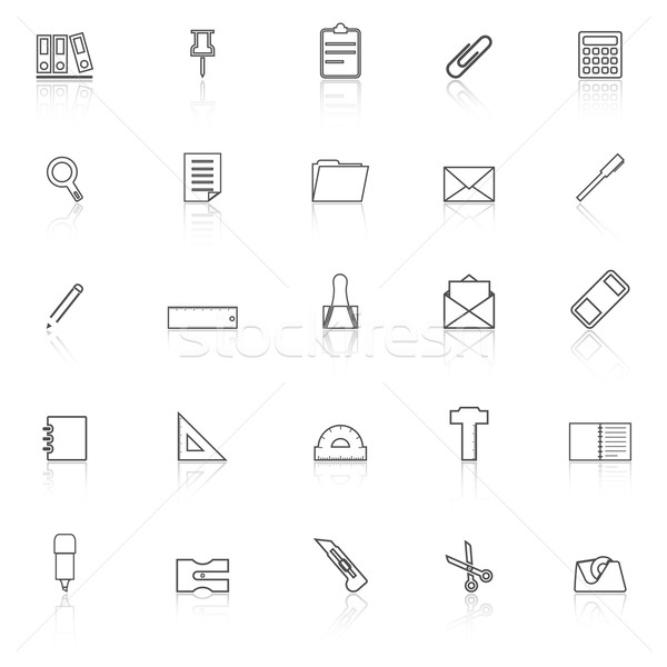 Stationery line icons with reflect on white background Stock photo © punsayaporn