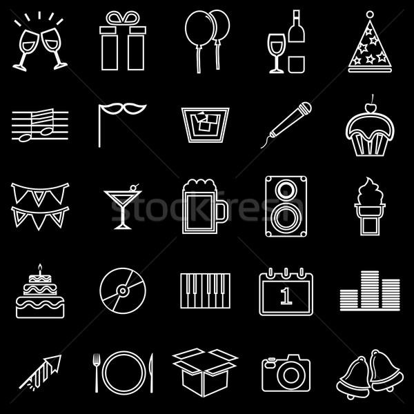 Nouvelle année ligne icônes noir stock vecteur Photo stock © punsayaporn