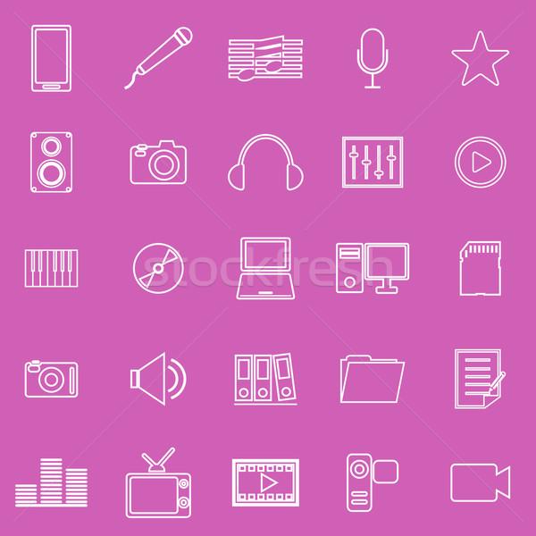 Media line iocns on pink background Stock photo © punsayaporn