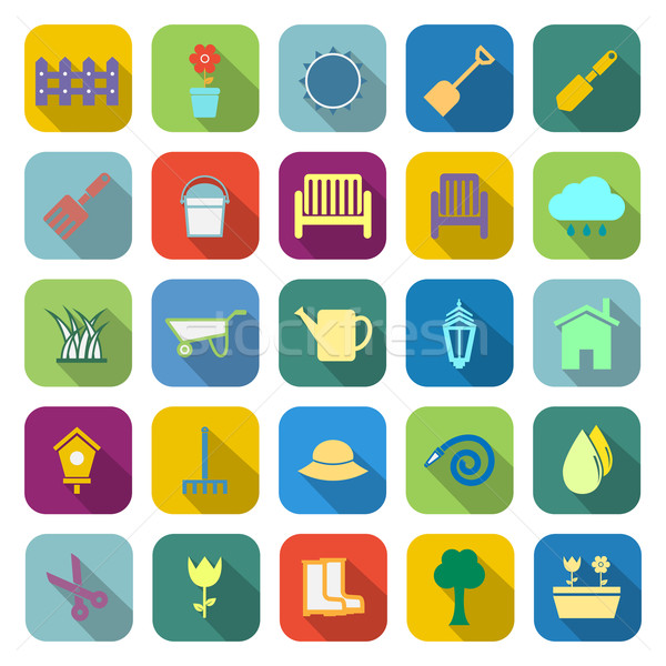 Gardening color icons with long shadow Stock photo © punsayaporn