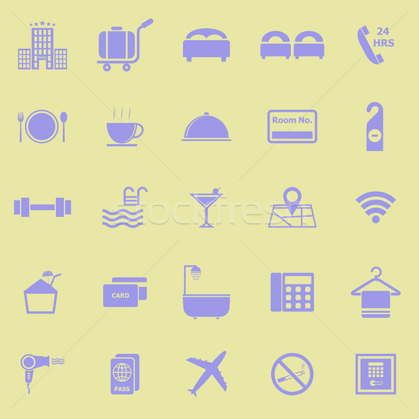 Hotel color icons on yellow background Stock photo © punsayaporn