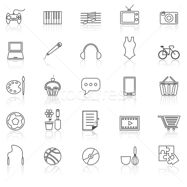 Hobby line icons with reflect on white Stock photo © punsayaporn