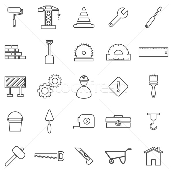 Construction line icons on white background Stock photo © punsayaporn