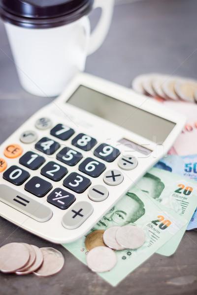 Számológép pénz szürke stock fotó háttér Stock fotó © punsayaporn