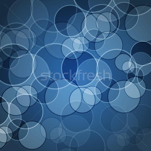 Absztrakt kék körök stock vektor háttér Stock fotó © punsayaporn