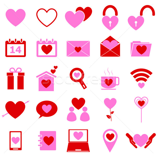Love color icons on white background Stock photo © punsayaporn