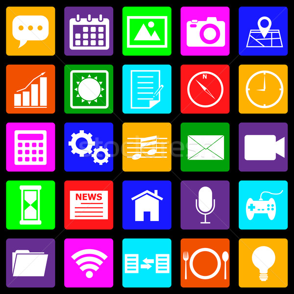 Application colorful icons on black background Stock photo © punsayaporn