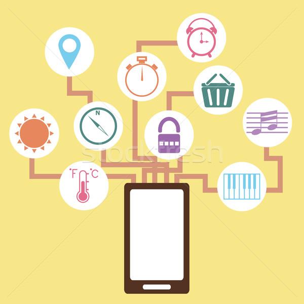 Mobiele toepassing idee stijl voorraad vector Stockfoto © punsayaporn