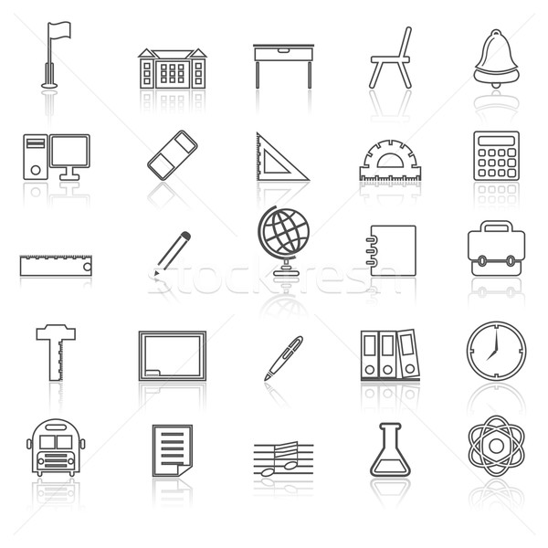 School line icons with reflect on white Stock photo © punsayaporn