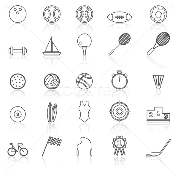 Sport line icons with reflect on white Stock photo © punsayaporn