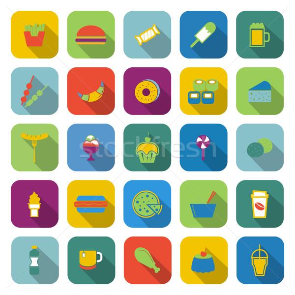 Fast food kleur iconen lang schaduw voorraad Stockfoto © punsayaporn