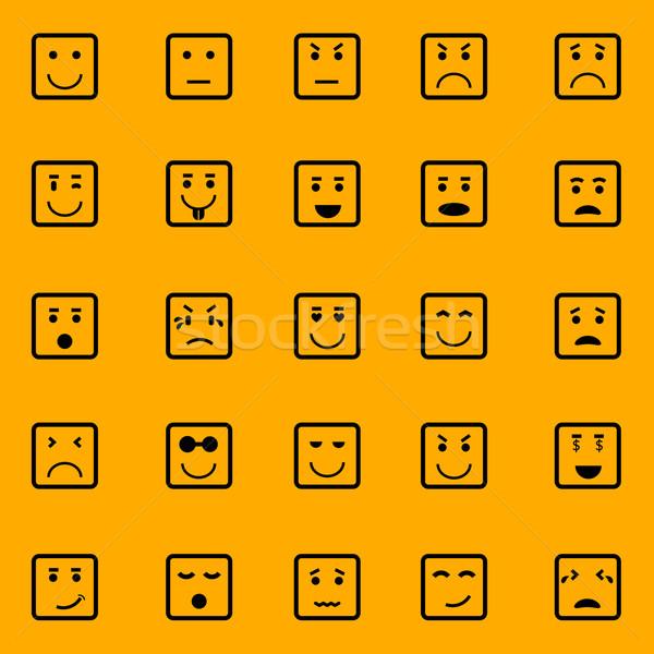 Сток-фото: квадратный · лице · иконки · оранжевый · складе · вектора