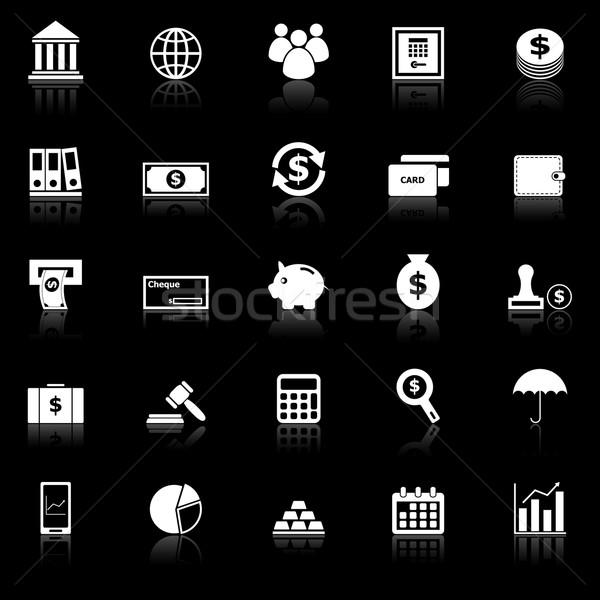 Banking icons with reflect on black background Stock photo © punsayaporn