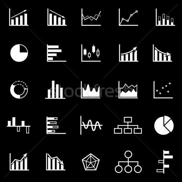 Graph icons on black background Stock photo © punsayaporn