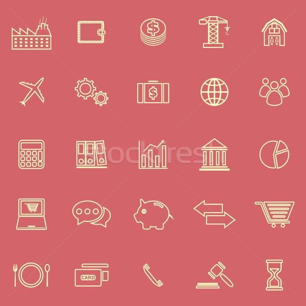 経済 行 アイコン 黒 色 赤 ストックフォト © punsayaporn