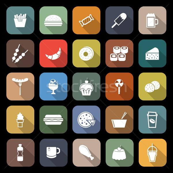 De comida rápida iconos largo sombra stock vector Foto stock © punsayaporn