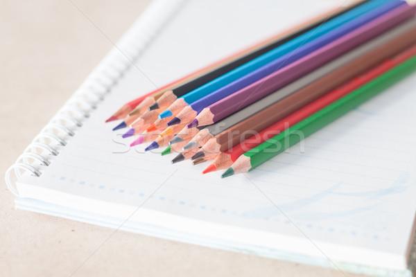 Stock fotó: Közelkép · színes · ceruza · zsírkréták · spirál · notebook