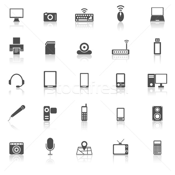 Gadget icons with reflect on white background Stock photo © punsayaporn
