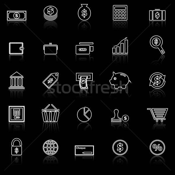 Money line icons with reflect on black Stock photo © punsayaporn
