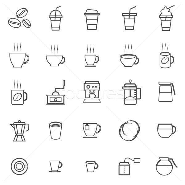 Coffee line icons on white background Stock photo © punsayaporn