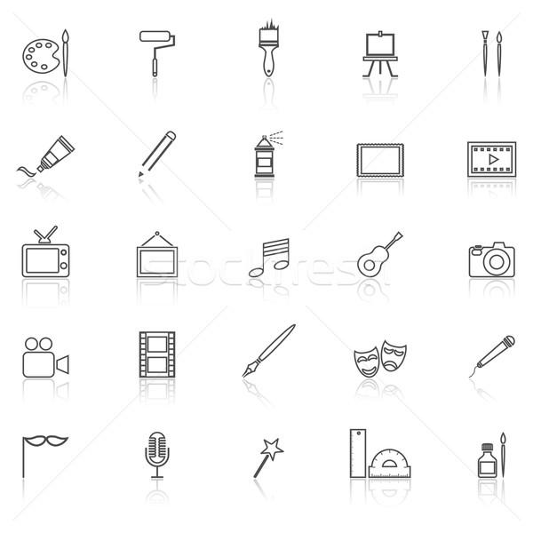 Art line icons with reflect on white Stock photo © punsayaporn
