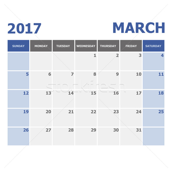 2017 March calendar week starts on Sunday Stock photo © punsayaporn