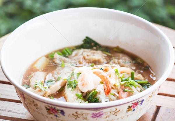 тайский пряный суп свинина морепродуктов Сток-фото © punsayaporn