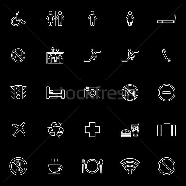 Público linha ícones preto estoque vetor Foto stock © punsayaporn