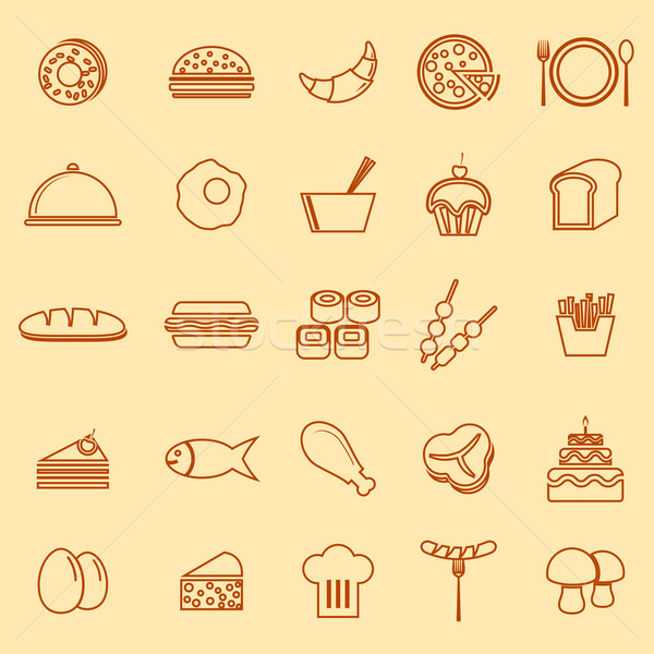 Food line icons on yellow background Stock photo © punsayaporn