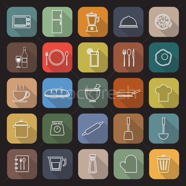 Kitchen line flat icons with long shadow Stock photo © punsayaporn
