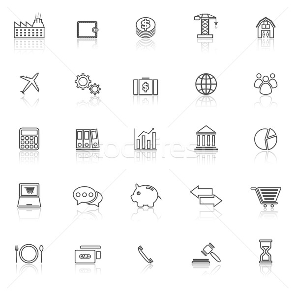 Economía línea iconos blanco stock vector Foto stock © punsayaporn