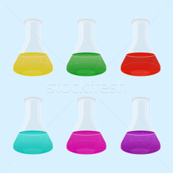 Set of multicolour liquid in laboratory flasks Stock photo © punsayaporn
