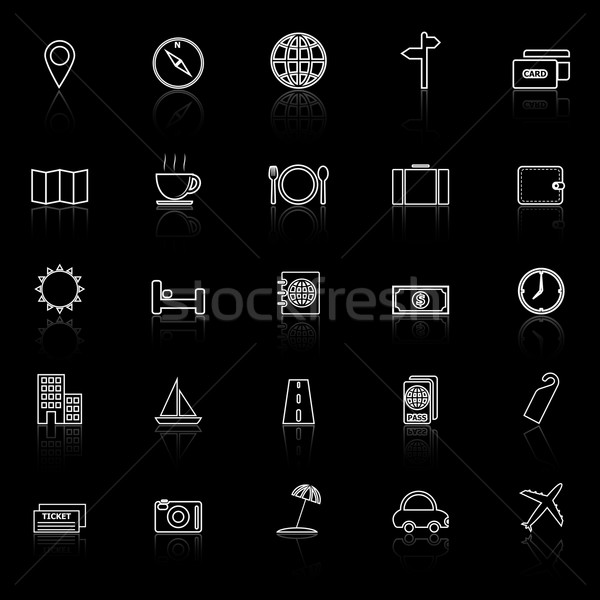 Travel line icons with reflect on black background Stock photo © punsayaporn