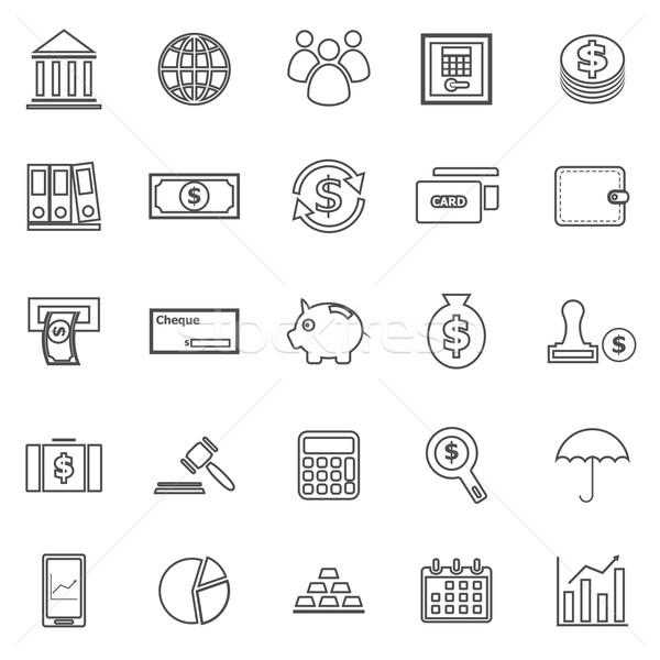 Bancaire lijn iconen witte voorraad vector Stockfoto © punsayaporn
