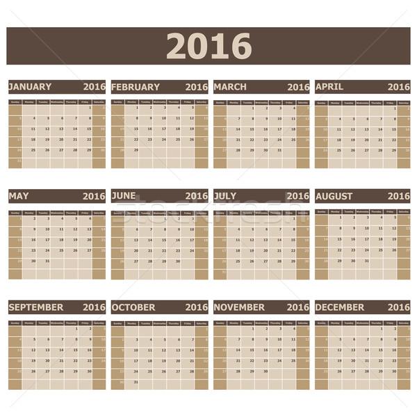 2016 Calendar week starts from Sunday Stock photo © punsayaporn