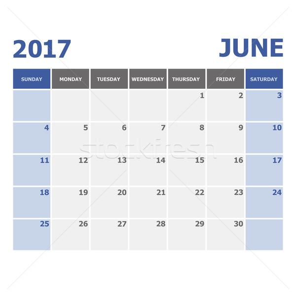 2017 June calendar week starts on Sunday Stock photo © punsayaporn