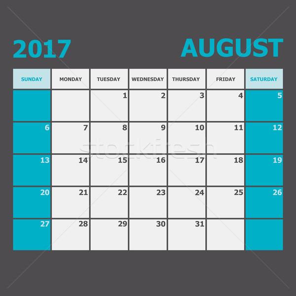 Agosto calendario settimana stock vettore ufficio Foto d'archivio © punsayaporn