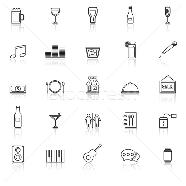 Bar line icons with reflect on white background Stock photo © punsayaporn