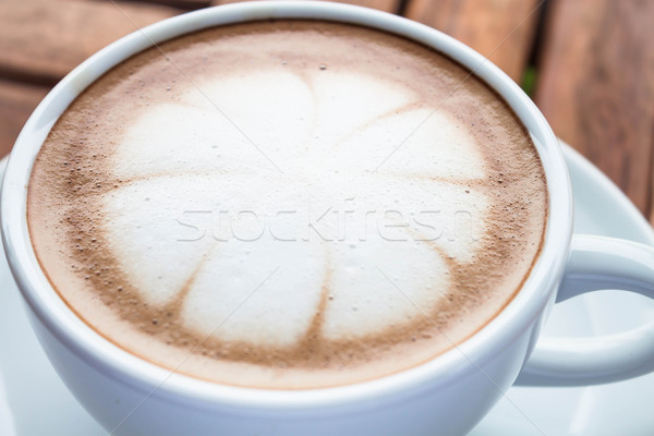Milk microfoam topped on hot cafe mocha cup Stock photo © punsayaporn