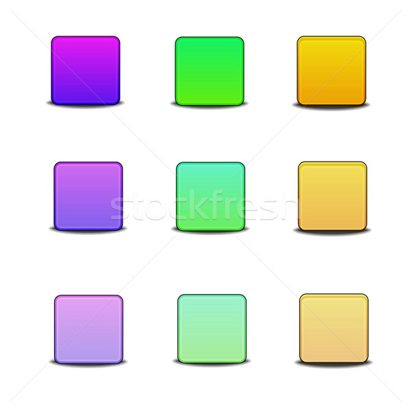 Colorful bevel styled icon set on white background Stock photo © punsayaporn