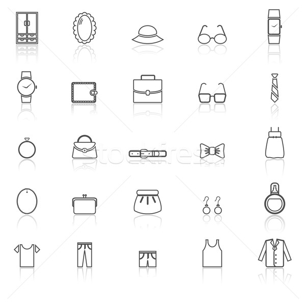 Dressing line icons with reflect on white Stock photo © punsayaporn