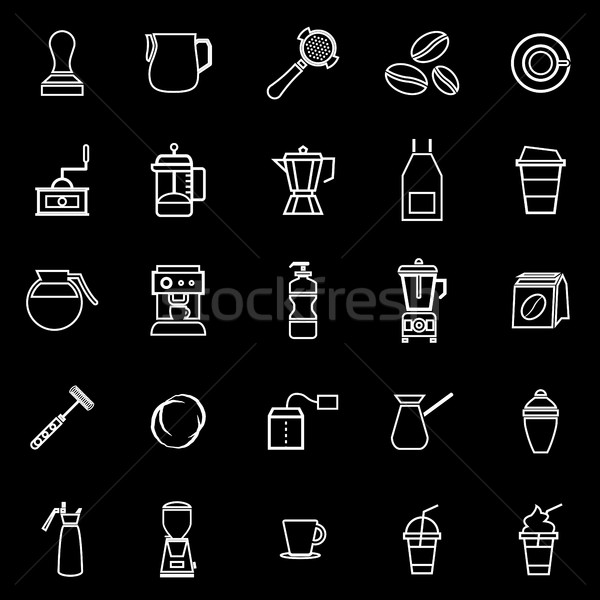 Barista line icon on black background Stock photo © punsayaporn