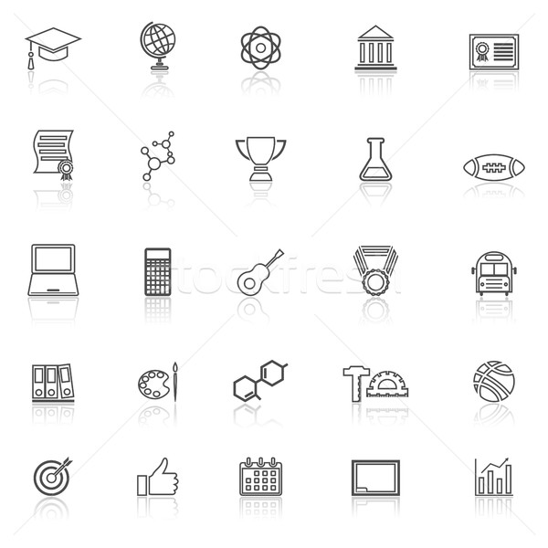 College line icons with reflect on white background Stock photo © punsayaporn