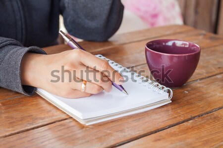 Stock photo: Woman hand holding a cup of coffee
