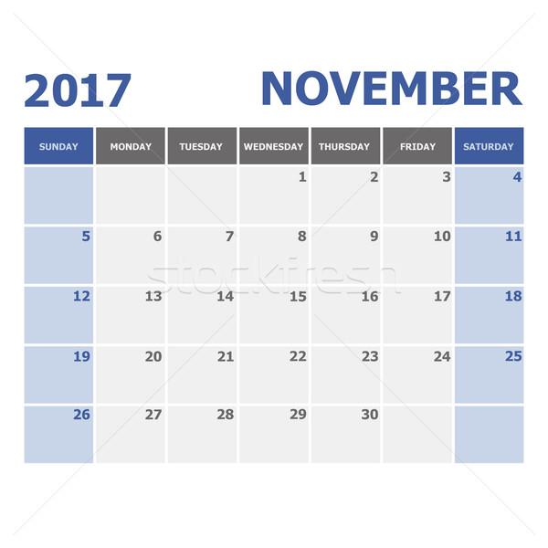 2017 November calendar week starts on Sunday Stock photo © punsayaporn