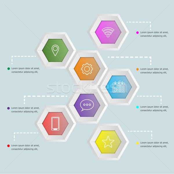 3D hexagon shape infographic template Stock photo © punsayaporn