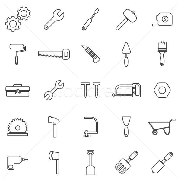 Tool line icons on white background Stock photo © punsayaporn